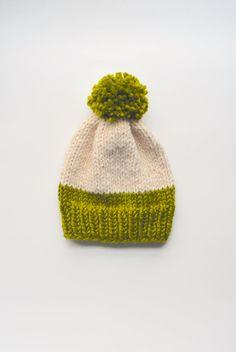 Cute Free Slouchy Knit Pom Pom Hat Pattern from Knit Freely