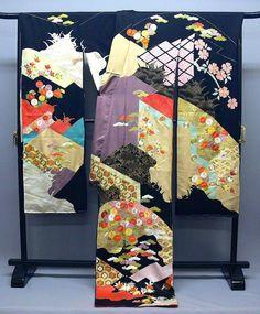 Classic pattern kimono hand-painted Yuzen kimono silk hand embroidered