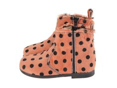 Funky dots booties for girls, in printed cow skin