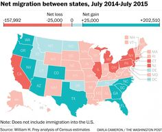 Net migration between states (July 2014 - July 2015)