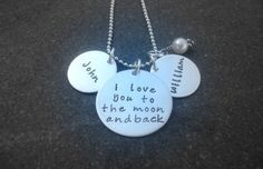 Hand Stamped Personalized Jewelry I Love You to the moon and back necklace personalized name necklace
