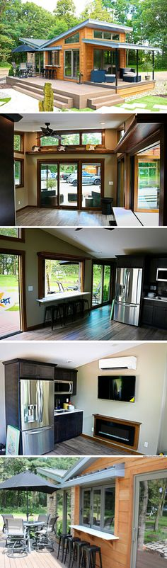 The Valley Forge park model home - bar voorzien aan het terras! Tiny House Cabin, Tiny House Living, Tiny House Design, Small House Plans, My House, Window Seat Kitchen, Park Model Homes, H Design, Interior Exterior