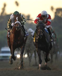Fort Larned, right, crosses the finish line ahead of Mucho Macho Man with Mike Smith atop to win the running of the Breeders' Cup Classic