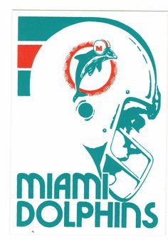1970s Dolphins sticker Pro Football Teams, Football Art, Football Memes, Vintage Football, Football Posters, Miami Dolphins Apparel, 1972 Miami Dolphins, Nfl Miami Dolphins, Dolphins Logo