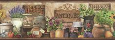 "Pure Country Brittany Herbs Antiques Portrait 15' x 6"" Food 3D Embossed Border Wallpaper"