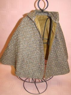 Antique Wool Tweed Lined Cape for Medium to Large French Fashion, from dollstx on Ruby Lane