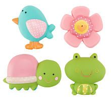 Tub time is a ton of silly fun with these Babies'R'Us Garden Squirtees! Designed as a bird, turtle, frog and flower, the rubber bath toys can suck up water and then squirt it out with a simple squeeze. <br><br> The Babies R Us Garden Squirtees features:<br><ul><li>Includes 4 bath toys</li><li>When squeezed, the toys suck up water or squirt it out</li><li>Each features fun colors and patterns</li><li>Designed as a bird, flower, frog and fish</li><li>Made of durable rubber</li><li>Average ...