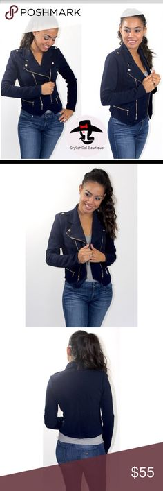 Navy Moto Jacket Look amazing in our gorgeous moto jacket💋 BRAND NEW-BOUTIQUE🛍  Long sleeves, double zip, size pockets  92% Polyester, 8% Spandex  Model is wearing size Small. Available in S-M-L. True to Size✅ Also available in Beige.  PRICE IS FIRM- unless you bundle 3+ items✳️ 🚫No Trades  Follow us on 📲IG: stylishgalboutique_   NOT FROM Zara, only listed for exposure. Zara Jackets & Coats