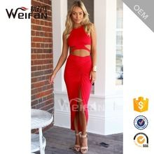 Wholesales Women Dress Two Pieces Red Color Sexy Nighty Long Maxi Fashion Dresses
