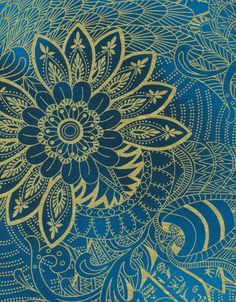 Hieroglyphic Floral Blue and Gold Legacy by lucyintheskyquilts, $10.00