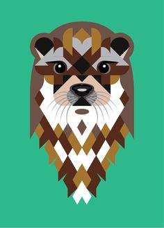 Geometric otter by Joanna Webster from Sticker Studio ... #otter #stickerstudio #geometricart