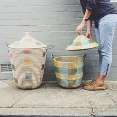 The perfect woven baskets. Colourful prints, we love them! Designed and made by Olli Ella