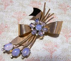 Rose Gold Colored Sterling Silver Floral Pin with Rose Colored Stones by Coro-2 34 by 1 78