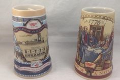 Miller Beer, Steins (2) - Birth of A Nation (#2) and River Steamer (#4) - 1993