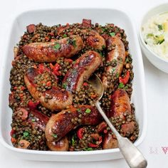 Toulouse sausages with lentils, sweet tomatoes and smoked bacon - Red ...