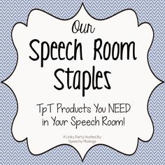 Speech Time Fun: Speech Room Staples (linky party)