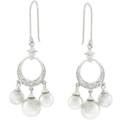 White Gold Rhodium Bonded Chandelier Earrings with 3 Mother of White Pearls Hanging From a Half Moon of Pave Set Round Cut Clear CZ in Hoop Hanging from a Fleur Di Lis in Silvertone
