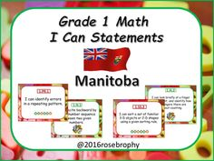 """These are """"I Can"""" posters to display in your class based on the Grade 1 Math outcomes for the Manitoba curriculum. Teachers can print, and laminate these posters for use in their class year after year. Students and parents are more open to the curriculum when they understand what is expected at each stage and these I can posters will let them know exactly what you are expecting in your class.If you would like a different background just email me at brophyrose@gmail.com.Dont forget to leave…"""