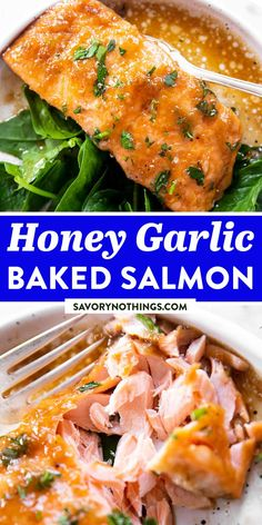 This is one of the best recipes for salmon baked in foil! The honey garlic marinade tastes so good and the entire dish only needs 5 ingredients. The fish is glazed with a delicious mix of honey, soy sauce and fresh garlic. It is then wrapped in foil and baked in the oven, which only takes around 15 minutes. | #salmonrecipe #easydinner #dinnerideas #dinnerrecipes #fishrecipes #fishrecipe #salmon #easyrecipes #easyrecipesforbeginners Best Fish Recipes, Salmon Recipes, Meat Recipes, Seafood Recipes, Cooking Recipes, Favorite Recipes, Honey Baked Salmon, Garlic Salmon, Fresh Garlic