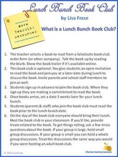 Friday Freebie Lunch Bunch Book Club Packet Library Awesomeness