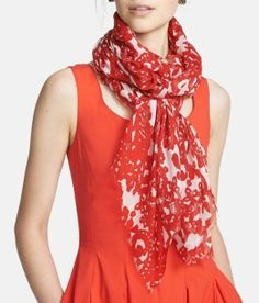 Love the red! Oscar de la Renta Print Scarf