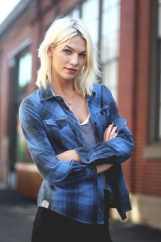 I have a weakness for PLAID... Love this blue. // Free People Blog #freepeople