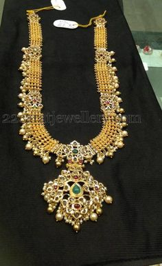 Jewellery Designs: Kundan Long Chain with 22kt Gold