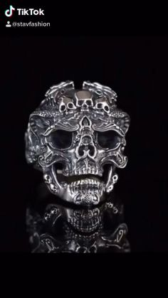 Silver Skull Ring, Silver Jewelry, Fine Jewelry, Silver Rings, Gothic Halloween, Halloween Jewelry, Dragon Ring, Cheap Rings, Punk Rock