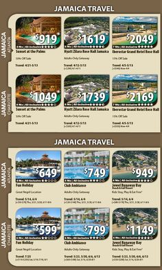 Jamaica Vacation Specials with Air Jamaica Vacation Packages & All-Inclusive Deals with Flights from Atlanta or Charlotte 6 Night packages All-inclusive From $599 pp For Details Contact http://taylormadetravel.agentarc.com  taylormadetravel142@gmail.com  call 828-475-6227