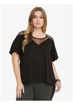 Plus Size Black Mesh Top
