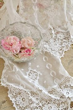 Beautiful - delicate lace and flowers in a crystal bowl
