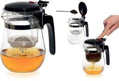 """""""Gong Fu Teekanne""""  Teekanne aus Hitzebeständigem Glas mit Sieb.  An der Oberseite der Kanne ist ein spezieller """"Glas"""" dort wird der Tee gebrüht. Sie geben sieben Gramm Ihrer Lieblings-Tee (es kann auch einer der Chinesischen Sorten sein) und füllen ihn mit heißem Wasser auf. Dann schließen Sie die obere Abdeckung und warten Sie einige Sekunden. Danach müssen Sie nur noch den roten Knopf drücken der das Ventil am Boden des Glases öffnet und die ganze brühe wird in den Behälter gegossen…"""