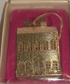 Vintage Russ Holiday Christmas Brass Treasure Row House 3D Ornament EC!