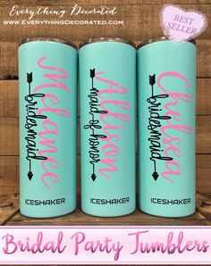 Mint and Soft Pink Bridal Party Tumblers Bachelorette Party Gifts, Bachelorette Weekend, Etched Mason Jars, Bridesmaid Pictures, Thermal Bottle, Personalized Bridesmaid Gifts, Custom Engraving, Tumblers, Summer Wedding