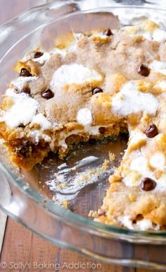 The best way to eat a s'more! When it's baked into a giant cookie cake. Recipe at sallysbakingaddiction.com