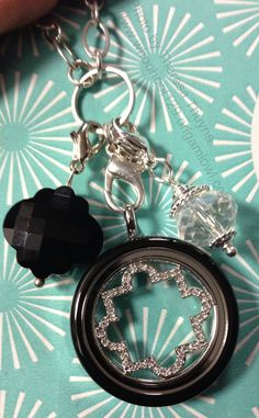 Origami owl Large Silver Twist locket with lil' black locket face.
