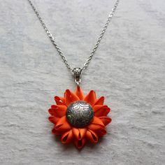 Orange Necklace Bright Orange Jewelry Flower Pendant Necklace Silver and Orange Wedding Jewelry Orange Bridesmaid Necklace Tangerine