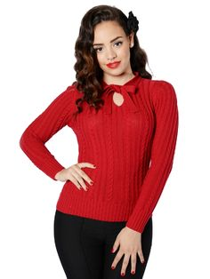 8a547efea0 Collectif Clothing - Beau Cable Knit Jumper in Burgundy. Royal Vintage Shoes