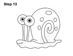 How to Draw Gary the Snail (Spongebob Squarepants) VIDEO & Step-by-Step Pictures