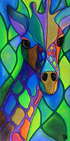 My Colorful Neck of the Woods This is a fine print of the original painting. Silk Painting, Painting & Drawing, Pop Art, Art Fantaisiste, Giraffe Art, Giraffe Painting, Arte Pop, Whimsical Art, Animal Paintings