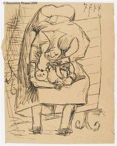 Femme allaitant son enfant Pablo Picasso, 1944 Encre noire sur papier brun, environ 32 x 25 cm Musée National Picasso, Paris, France
