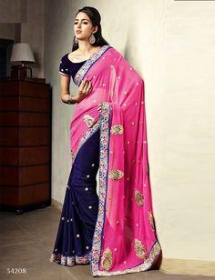 Pink Dark Blue Poly Georgette Butti Embroidered Saree $136.87 #weddingsaree #designersaree #partywearsaree #festivalsaree #sareecollection #sari #womenswear #womenstyle #fashionumang