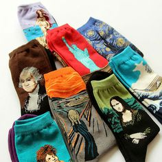 Novelty Famous Oil Painting Art Socks Women's Men's Street Graffiti Van Gogh Mona Lisa Long Sock Winter Autumn Cotton Socks - B E S T Online Marketplace - SaleVenue Funky Socks, Crazy Socks, Cute Socks, Colorful Socks, Looks Vintage, Retro Vintage, Van Gogh, Mona Lisa, Bff