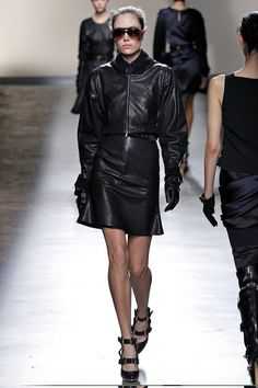 Leather bomber jacket and a-line skirt. #PrabalGurung #FW2013 #NYFW