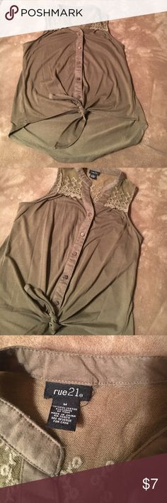 Rue 21 bottom front shirt Like new besides slight pilling on lower back of shirt. Super cute. Upper lace accent with bottom front and tie at the bottom Rue 21 Tops Blouses