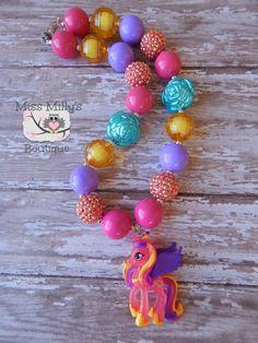 My Little Pony Girls Chunky Necklace by MissMillysBoutique on Etsy, $19.00