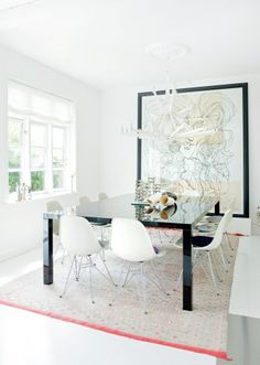 a mix of ethnic travel discoveries Danish design classics and international art. This is what a Dining space should look like, well seated.