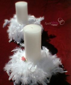 Baby Angel Party Theme | simple but lovely centerpiece for your angel wedding: pillar candles ...