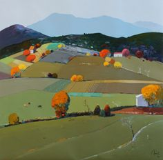 """""""Hills of My Childhood"""", 30 x 30, Oil on Canvas, $5,700, Pashk Pervathi, Eisenhauer Gallery"""
