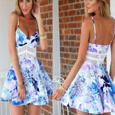 Sexy Cutout Waist Women Flare Dress